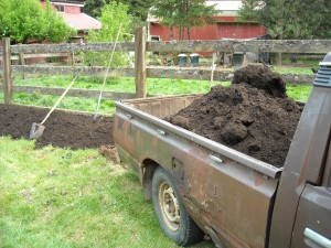 Adding Compost to the Reiki Ranch garden